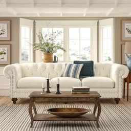 """Pindall 109"""" Rolled Arm Sofa with Reversible Cushions 