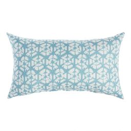 Blue And Ivory Shibori Sands Outdoor Lumbar Pillow   World Market
