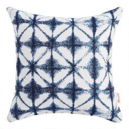 Sunbrella Indigo Tile Outdoor Throw Pillow   World Market