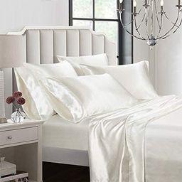 AiMay 6 Piece Satin Bed Sheet Set Deep Pocket Luxury Rich Silk Silky Super Soft Solid Color Hypoa...   Amazon (US)