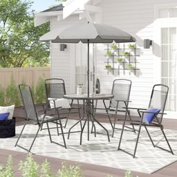 Tollette Round 4 - Person 31.25 Long Dining Set with Umbrella | Wayfair North America