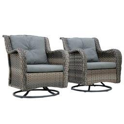 Brice Rocking Swivel Patio Chair with Cushions (Set of 2)   Wayfair North America