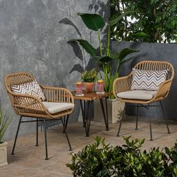 Enger Outdoor Woven Patio Chair with Cushion (Set of 2)   Wayfair North America