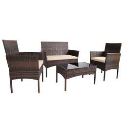 Chanera 4 Piece Rattan Sofa Seating Group with Cushions   Wayfair North America
