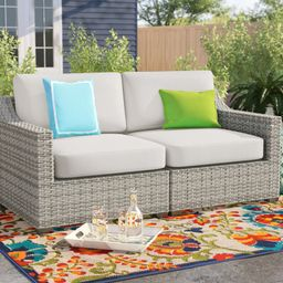 """Falmouth 70"""" Wide Outdoor Wicker Loveseat with Cushions   Wayfair North America"""