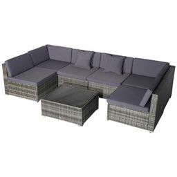 Merton 7 Piece Rattan Sectional Seating Group with Cushions   Wayfair North America