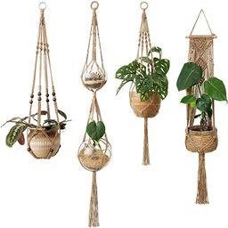 Mkono Macrame Plant Hangers 4 Pcs Indoor Outdoor Hanging Planter Basket Jute Rope Flower Pot Hold... | Amazon (US)