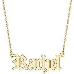 Hidepoo Custom Name Necklace Personalized, 14K Gold Plated Old English Customized Nameplate Neckl... | Amazon (US)
