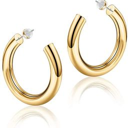 Hoop Earrings for Women - 14K Gold Plated Lightweight Chunky Open Hoops 316L Surgical Stainless S... | Amazon (US)