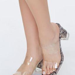 Faux Snakeskin Transparent-Vamp Heels   Forever 21 (US)