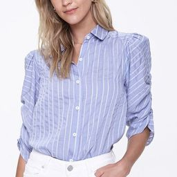 Striped Ruched-Sleeve Shirt   Forever 21 (US)