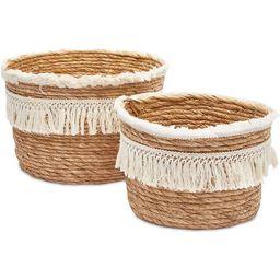 Set of 2 Round Boho Rope Woven Storage Baskets Bins Organizer with Tassel, Brown 2 Sizes | Walmart (US)