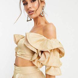 Yaura tiered sleeve off shoulder crop top set in champagne gold   ASOS (Global)