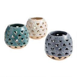 Two Tone Ceramic Cutout Hurricane Candleholder   World Market