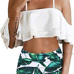 Tempt Me Women Two Piece Swimsuit High Waisted Bikini Off Shoulder Ruffle Bathing Suits   Amazon (US)