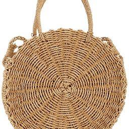 Straw Crossbody Bag, Women Beach Shoulder Summer Top Handle Crossbody Round Purse Ladies Woven Fa...   Amazon (US)