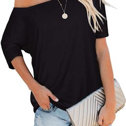 Sipaya Women's Off The Shoulder Tops Casual Loose Fitting T Shirts | Amazon (US)
