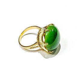 Vintage 14k Yellow Gold Large Round Cabochon Jade Ring | Etsy (US)