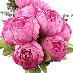 LeagelFake Flowers Vintage Artificial Peony Silk Flowers Bouquet Wedding Home Decoration, Pack ...   Amazon (US)