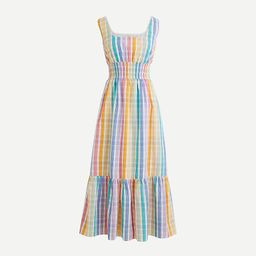 Square-neck dress in rainbow gingham | J.Crew US