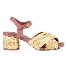 Kira Braided Raffia & Leather Sandals   Saks Fifth Avenue