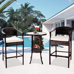 Outdoor High Top Table and Chair, Patio Furniture High Top Table Set with Glass Coffee Table, Rem... | Walmart (US)