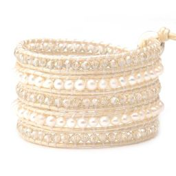 Freshwater Pearls and Clear Crystals on Ivory | Victoria Emerson