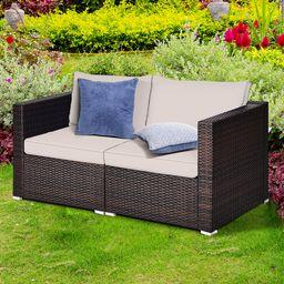 Gymax 2PCS Rattan Corner Sofa Set Patio Outdoor Furniture Set w/ 4 Beige Cushions   Walmart (US)