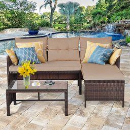 Costway 3PCS Patio Wicker Rattan Sofa Set Outdoor Sectional Conversation Set Garden Lawn   Walmart (US)