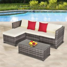 5 Pieces Outdoor Patio Furniture Set, All-Weather Outdoor Small Sectional Patio Sofa Set, Wicker ...   Walmart (US)