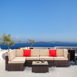 Ktaxon 6 PCS Outdoor Rattan Wicker Sofa Sectional Furniture Set Patio Garden Backyard with Beige ...   Walmart (US)