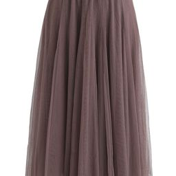 My Secret Weapon Tulle Maxi Skirt in Brown | Chicwish