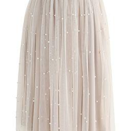 Surely Sweet Pearls Mesh Skirt in Cream | Chicwish