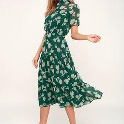 Floral Dressed Up Dark Green Floral Print Midi Dress   Lulus (US)