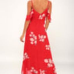 Love in Bloom Red Floral Print Off-the-Shoulder High-Low Dress   Lulus (US)