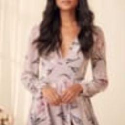 Loving You Dusty Purple Floral Print Long Sleeve Wrap Maxi Dress   Lulus (US)