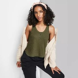 Women's Button Placket Waffle Tank Top - Wild Fable™ | Target