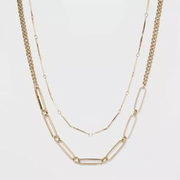 Two Row Layered Necklace - A New Day™ Gold | Target