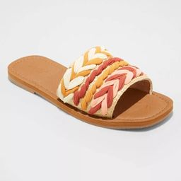 Women's Eve Square Toe Raffia Slide Sandals - Universal Thread™ | Target