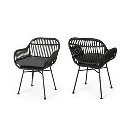 Enger Outdoor Woven Patio Chair with Cushion (Set of 2) | Wayfair North America