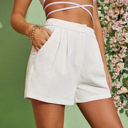 SHEIN Zipper Fly Slant Pocket Fold Pleated Shorts   SHEIN