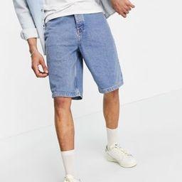 ASOS DESIGN slim skater denim shorts in tinted mid wash blue   ASOS (Global)