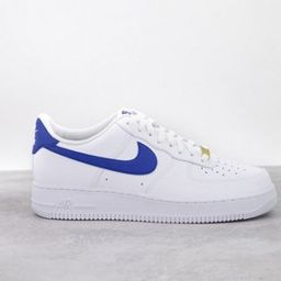 Nike Air Force 1 '07 trainers in white/game royal   ASOS (Global)