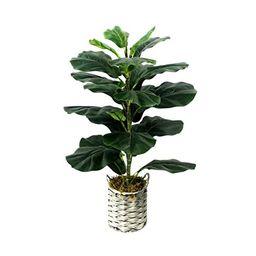 Fiddle Leaf Fig Tree Floor Plant Fake Plants Artificial Leaf Faux Ficus Lyrata 28 Inch in Grey Wo... | Walmart (US)