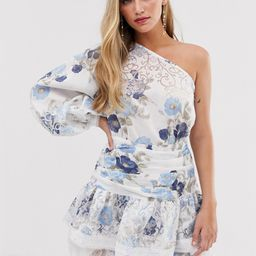 Bronx & Banco Lora Sky one sleeve floral mini dress-Blue   ASOS (Global)