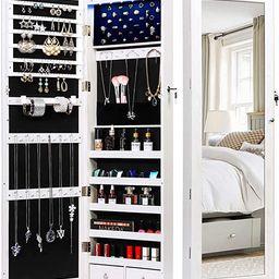 TWING Jewelry Armoire Jewelry Organizer Wall Mounted Lockable 6 LEDs Wall Mounted Jewelry Armoire... | Amazon (US)