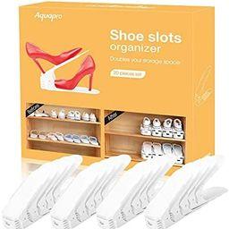 AQUAPRO Shoe Slots Organizer, Adjustable Shoe Stacker Space Saver, Double Deck Shoe Rack Holder f... | Amazon (US)