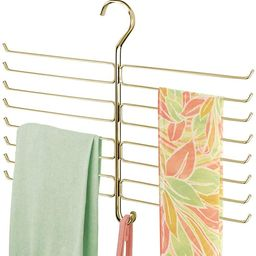 mDesign Metal Closet Rod Hanging Accessory Storage Organizer Rack for Scarves, Ties, Yoga Pants, ... | Amazon (US)