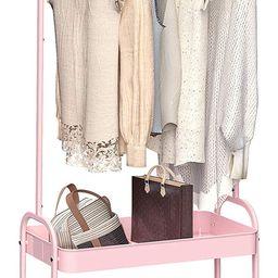 KINGRACK 2-in 1 Garment Rack, Clothing Rack with 2 Tier Metal Basket, Rolling Storage Cart Clothe... | Amazon (US)