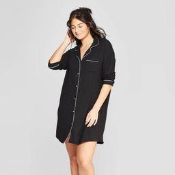 Women's Beautifully Soft Notch Collar Nightgown - Stars Above Black XS | Target